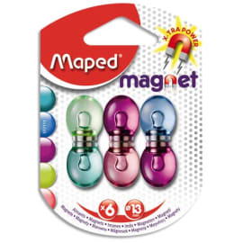 MAPED Blister 6 aimants ronds, dia 13mm. Force magnétique 800g soit 10f. Coloris assortis translucide photo du produit
