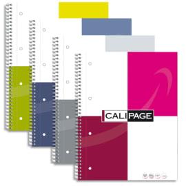 CALIPAGE Cahier spirale 21x32cm 160 pages perforées petits carreaux 80g. Couverture rembordée assortie photo du produit