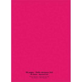 Cahier piqûre 24x32cm 96 pages 90g quadrillé 5x5. Couverture polypropylène Rose photo du produit
