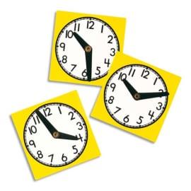 OZ INTERNATIONAL Lot de 10 horloges en plastique résistant lavable 11 cm, aiguilles mobiles photo du produit