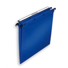OBLIQUE AZ Paquet de 10 dossiers suspendus TIROIR en polypro opaque 5/10e. Fond V, bouton-pression. Bleu photo du produit