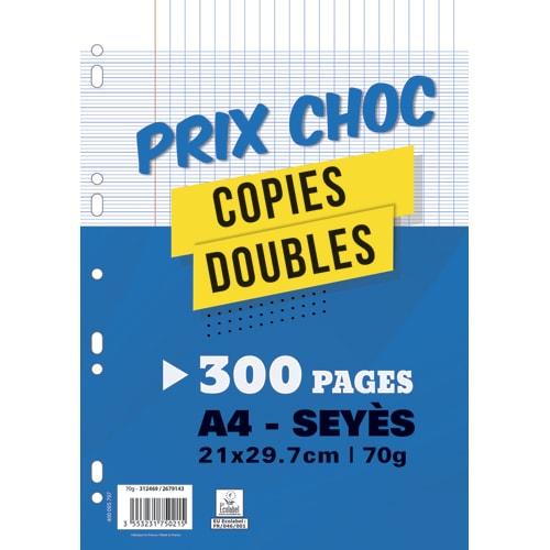 Lot de 300 pages copies doubles grand format A4 grands carreaux Séyès 70g perforées photo du produit Principale L