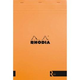 RHODIA Bloc coloR agrafé en-tête 21x31,8cm, 140 pages lignées détachables. Couverture rembordée Orange photo du produit