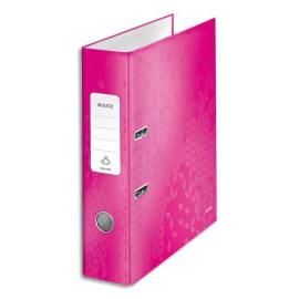 LEITZ Classeur à levier 180° WOW en carton pelliculé, dos 8 cm, coloris Rose photo du produit