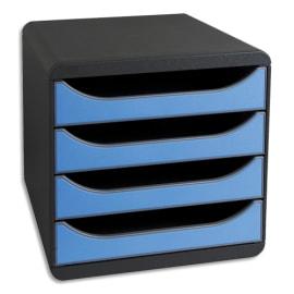 EXACOMPTA Module de classement BIG-BOX 4 tiroirs Noir/Bleu glacé - Dim. 27,8 x 26,7 x 34,7 cm photo du produit