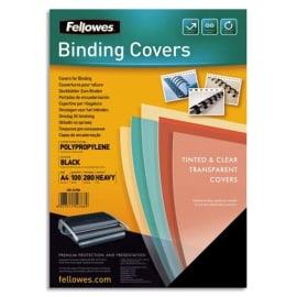 FELLOWES Boîte de 100 plats de couvertures Futura A4 polypropylène Noir 280microns 5476602 photo du produit