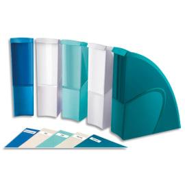 CEP Lot de 5 porte-revues RIVIERA en polystyrène. Dimensions H31 x P27 cm, dos 8,5 cm. Coloris assortis photo du produit