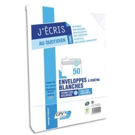 GPV Paquet de 50 enveloppes Blanches auto-adhésives 75 grammes format 110x220mm référence 517 photo du produit