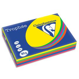 CLAIREFONTAINE Ramette 5x100F papier Trophée 80g A3 assortis intense soleil,menthe,cardinal,BleuT,Fuchsia photo du produit
