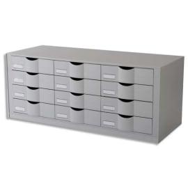 PAPERFLOW Bloc classeur à 12 tiroirs pour documents 24 x 32 cm - Dimensions L81,3 x H32,9 x P34,2 cm Gris photo du produit