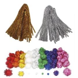 SODERTEX Pack Maxi glitter Pompons et chenilles, classe entière, 300 pièces tailles et Coloris assortis photo du produit