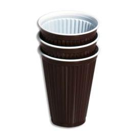 HUHTAMAKI Sachet de 100 gobelets 18 cl boissons chaudes rainurés Marron/Blanc H. 9,1 cm Diamètre 7,03 cm photo du produit