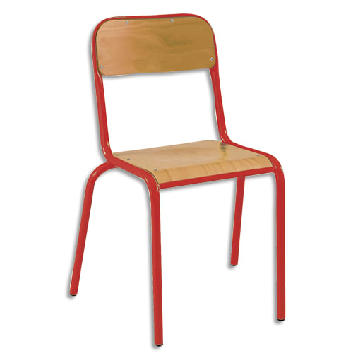SODEMATUB Lot de 4 chaises scolaire Alexis, hêtre, Rouge, assise 35 x 36 cm, taille 6 photo du produit Principale L
