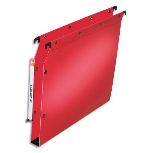 OBLIQUE AZ Paquet de 10 dossiers suspendus ARMOIRE en polypro opaque 5/10e.Fond 30, bouton-pression.Rouge photo du produit Principale L