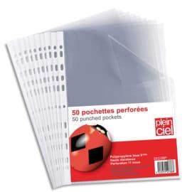 PLEIN CIEL Sachet de 50 pochettes perforées en polypropylène 9/100e photo du produit