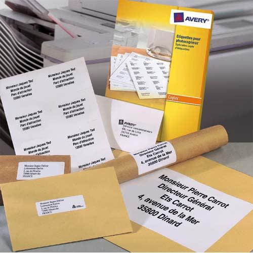 AVERY Boîte de 1400 étiquettes copieur coins carrés 105X42 Blanc.DP144-100 photo du produit Principale L
