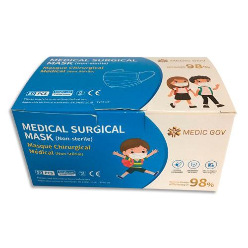 Boîte de 50 masques chirurgicaux jetables 3 plis pour enfants, type IIR, CE EN14683 2019 photo du produit Principale L