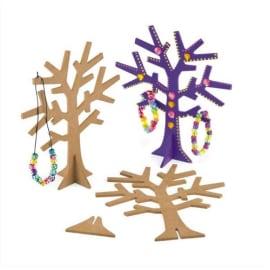 Arbre à bijoux avec socle, en bois à décorer, hauteur 19 cm photo du produit