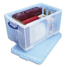 REALY USEFUL BOX Boîte de rangement 84L + couvercle, Dimensions L71 x H38 x P44 cm coloris transparent photo du produit