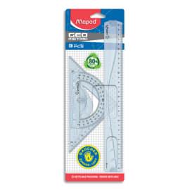 MAPED Kit de traçage 3 pces GEOMETRIC pr GAUCHERS:1 règle 30cm+1 équerre 60°+1 équerre 45°+1 rapporteur photo du produit