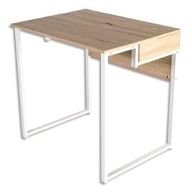 Bureau home-office Aladin plateau chêne clair, structure acier blanche - Dimensions : L80 x H75 x P60 cm photo du produit