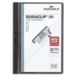 DURABLE Chemise de présentation Duraclip 30 à clip, couverture transparente - 1-30 feuilles A4 - Noir photo du produit