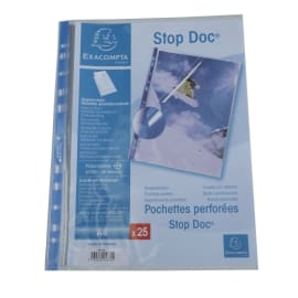 EXACOMPTA Sachet de 25 pochettes perforées A4 PP transparent lisse 6/100. Ouverture en coin 2/3 hauteur photo du produit