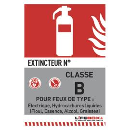 LIFEBOX Panneau de signalisation classe feu B présence d'extincteur CO2 photo du produit