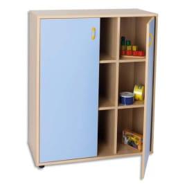 MOBEDUC Meuble L90 x H112 X P40 cm, 9 cases, 2 portes poignée couleur Bleu lavande photo du produit