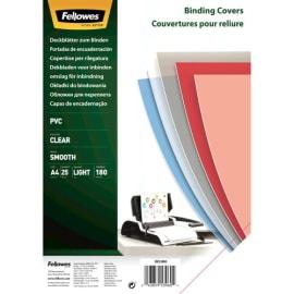 FELLOWES Boîtes de 25 couvertures transparentes PVC format A4 180 microns 5380001 photo du produit