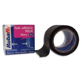 RUBAFIX Toile adhésive MILLE, plastifiée et imperméable, rouleau de 50mmx 3m Noir photo du produit