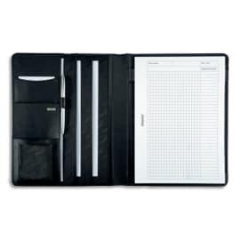 JUSCHA Conférencier Noir Cremona cuir. 32x25x2cm. Livré bloc-notes et pochettes multiples photo du produit