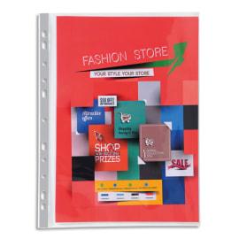 EXACOMPTA Sachet 10 pochettes perforées PREMIUM A4 en polypropylène lisse 14/100e cristal photo du produit