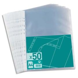 Sachet de 50 pochettes perforées en polypropylène grainé 4/100. Format A4, 11 trous. photo du produit