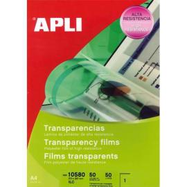 APLI Film transparents pour photocopieur/Imprimantes Laser et Jet d'encre B/50 photo du produit