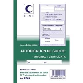 ELVE Manifold autocopiant Autorisation de Sortie format 21x14cm, 50 feuillets tripli photo du produit