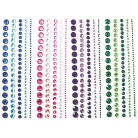 GRAINE CREATIVE Lot de 4 bandes de strass adhésifs, differents diametres, 4 coloris assortis photo du produit