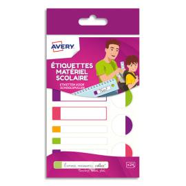 AVERY Boîte de 24 étiquettes plastifiées. 3 formats assortis. Coloris assortis fluorescents photo du produit