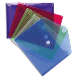 EXACOMPTA Sachet de 5 pochettes-enveloppes VELCRO® A5 en polypropylène 2/10e. Coloris assortis photo du produit