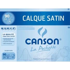 CANSON Pochette de 12 feuilles 24x32cm papier calque 70g. Avec pastilles repositionnables photo du produit