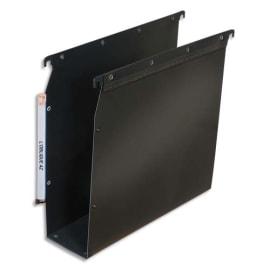 OBLIQUE AZ Paquet de 10 dossiers suspendus ARMOIRE en polypro opaque 5/10e.Fond 80, bouton-pression. Noir photo du produit
