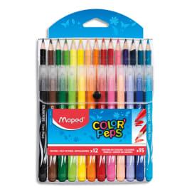 MAPED Pochette de 12 feutres LONG LIFE + 15 crayons de couleur COLOR PEPS photo du produit