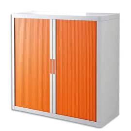 PAPERFLOW EasyOffice armoire démontable corps en PS teinté Blanc Orange - Dimensions L110xH104xP41,5 cm photo du produit