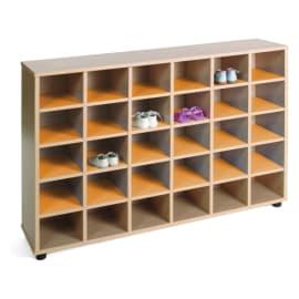 MOBEDUC Meuble à chaussures 30 cases 120 x 28 x 87 cm, Orange photo du produit