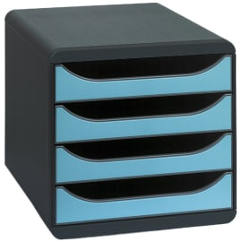 EXACOMPTA Module classement BIG-BOX 4 tiroirs Noir/Bleu turquoise en PS format A4+ L27,8xH26,7xP34,7 cm photo du produit