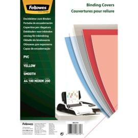 FELLOWES Boîte de 100 plats de couvertures PVC 200 microns A4 Jaune 5377001 photo du produit