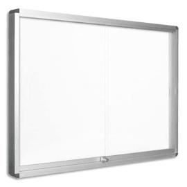 PERGAMY Vitrine d'intérieur fond magnétique laqué Blanc, portes coulissantes, cadre alu - 12 feuilles A4 photo du produit