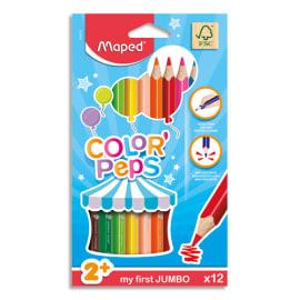 MAPED Boîte de 12 maxi crayons de couleur ColorPeps assortis, mine 4,7 mm photo du produit