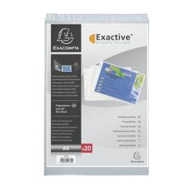 EXACOMPTA Sachet 20 pochettes EXACTIVE PP. Format A4 paysage/horizontal (perforations petit côté) photo du produit