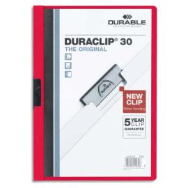 DURABLE Chemise de présentation Duraclip 30 à clip, couverture transparente - 1-30 feuilles A4 - Rouge photo du produit